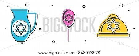 Set Decanter With Star Of David, Balloons With Ribbon With Star Of David And Jewish Kippah With Star