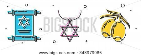 Set Torah Scroll, Star Of David Necklace On Chain And Olives Branch Icon. Vector