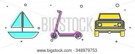 Set Yacht Sailboat Or Sailing Ship, Scooter And Off Road Car Icon. Vector
