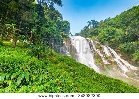 Chiang Mai, Thailand - 5.11.2019: Tourist Are Taking Photo And Selfie Near Wachirathan Waterfall At