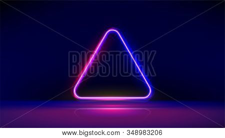 Round Corner Neon Glowing Triangle With Reflections On The Floor. Modern Neon Lights Psychedelic Bac
