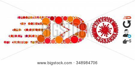 Collage Rush Rewind Forward Icon And Red Rounded Corroded Stamp Seal With Molecule Text And Coronavi