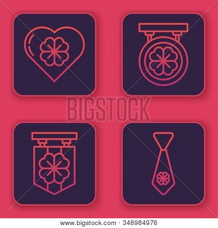 Set Line Heart With Four Leaf Clover, Street Signboard With Four Leaf Clover, Street Signboard With