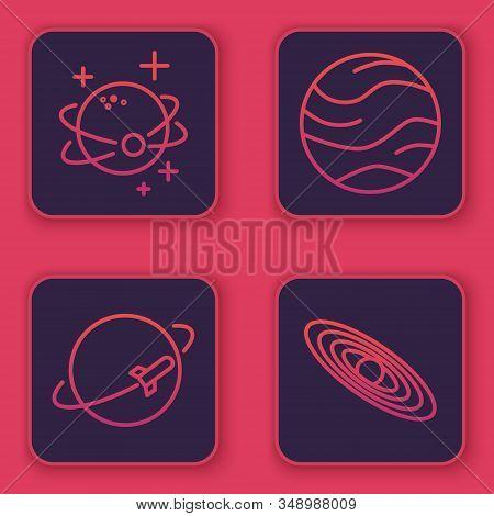 Set Line Planet, Planet, Planet And Planet. Blue Square Button. Vector