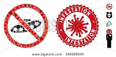 Mosaic No Ufo Icon And Red Rounded Grunge Stamp Seal With Infestation Caption And Coronavirus Symbol