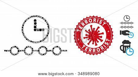 Mosaic Timeline Icon And Red Round Corroded Stamp Seal With Terrorist Phrase And Coronavirus Symbol.