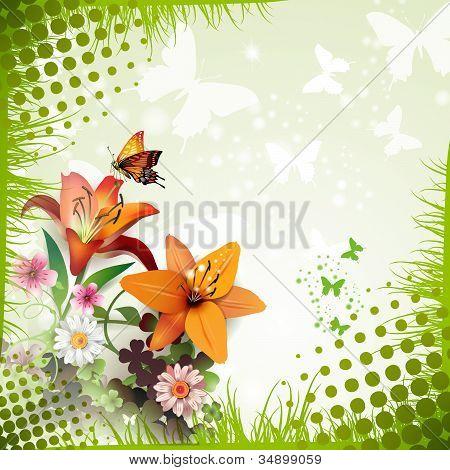 Lilies and butterflies