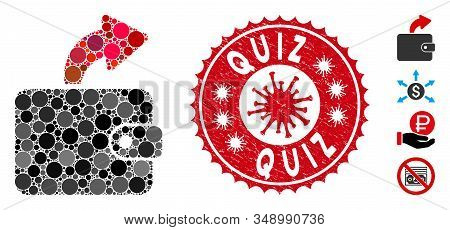 Mosaic Spend Cash Icon And Red Rounded Grunge Stamp Watermark With Quiz Caption And Coronavirus Symb