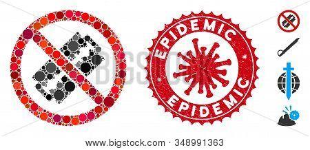 Collage No Razor Blade Icon And Red Round Grunge Stamp Watermark With Epidemic Text And Coronavirus