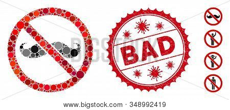 Mosaic No Curly Mustache Icon And Red Round Grunge Stamp Seal With Bad Caption And Coronavirus Symbo