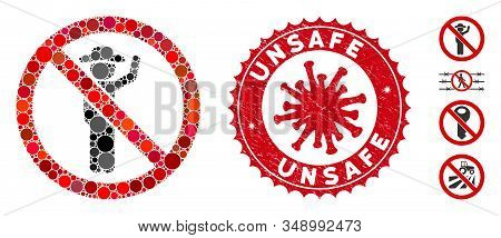 Mosaic No Hitchhiking Icon And Red Round Rubber Stamp Seal With Unsafe Text And Coronavirus Symbol.