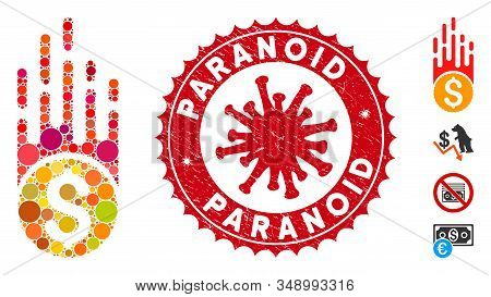 Collage Rush Falling Dollar Icon And Red Rounded Distressed Stamp Seal With Paranoid Text And Corona