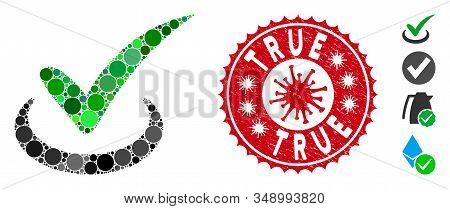 Mosaic True Icon And Red Rounded Distressed Stamp Seal With True Caption And Coronavirus Symbol. Mos