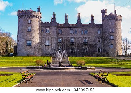 February 20 2018, Kilkeny Ireland: Editorial Photo Of Kilkenny Castle. Historic Landmark In The Town