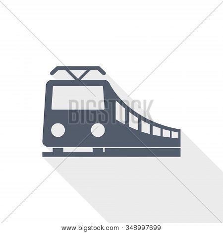 Train Vector Icon, Railway, Transportation Concept Flat Design Illustration