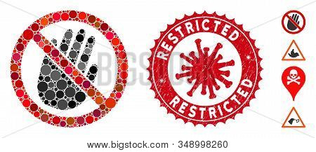 Mosaic Restricted Hand Icon And Red Rounded Rubber Stamp Watermark With Restricted Phrase And Corona