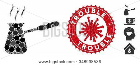 Collage Turkish Coffee Icon And Red Round Grunge Stamp Seal With Trouble Caption And Coronavirus Sym