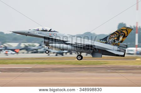 Fairford / United Kingdom - July 12, 2018: Royal Norwegian Air Force Special Livery Lockheed F-16am