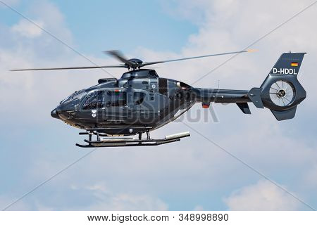 Fairford / United Kingdom - July 12, 2018: German Navy Eurocopter Ec-135 D-hddl Trainer Helicopter A