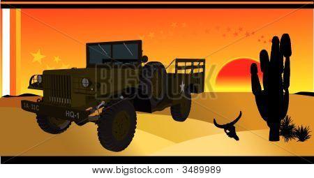 Car In Desert Vector