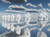 Surreal white faces float about reflecting sureface poster