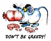 cartoon illustration of greedy mouse eating sausage poster