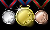 Awards as medals - gold, silver and bronze poster