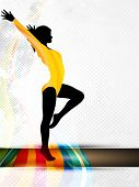 Silhouette of gymnastic girl on abstract grungy colorful wave background. EPS10. poster