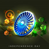 Indian flag color creative background with 3D Asoka wheel. EPS 10. poster