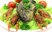 dish with crayfish smoked fishsalad and tomato poster