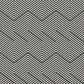 Vector Geometric Lines Pattern. Abstract Striped Ornament. Simple Geometrical Black And White Stripe