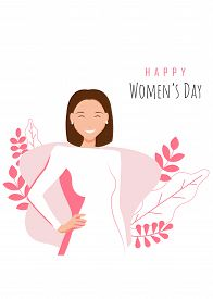 Happy womens day illustration. March 8, International Women's Day. 8 march, womans day, women's day background, women's day banners, women's day flyer, women's day design. Young pretty woman over pink background. Portrait. Vector