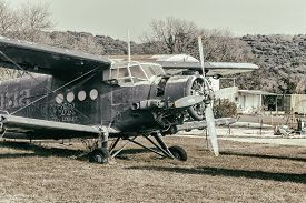 Vrsar, Croatia - January 29, 2020:  Old Aircraft Antonov 2 ( An-2 ) Colt, Exhibited At The Aeropark