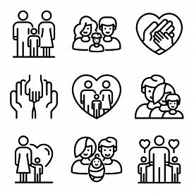 Foster Family Icons Set. Outline Set Of Foster Family Vector Icons For Web Design Isolated On White