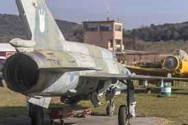 Vrsar, Croatia - January 29, 2020:  Old Supersonic Jet Fighter Mig-21, Fishbed, Exhibited At The Aer