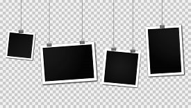 Vintage Photo Frames Hanging On A Clips. Set Of Photo Frames. Realistic Detailed Photo Icon Design T