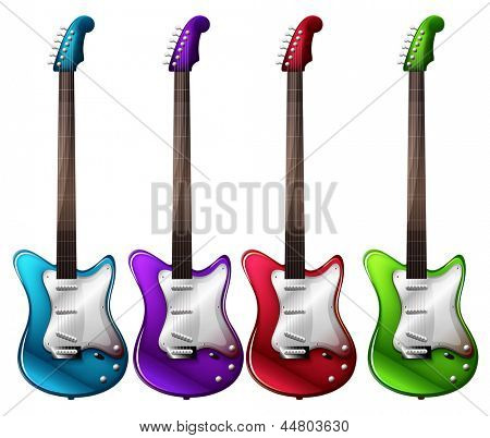 Illustration of the four colorful electric guitars on a white background