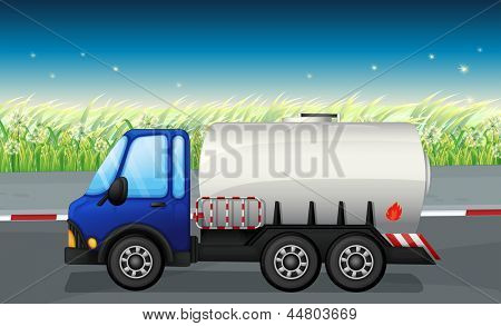 Illustration of an oil tanker at the road