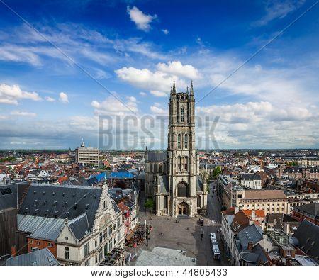 Saint Bavo Cathedral (Sint-Baafskathedraal) and Sint-Baafsplein, view from Belfry. Ghent, Belgium
