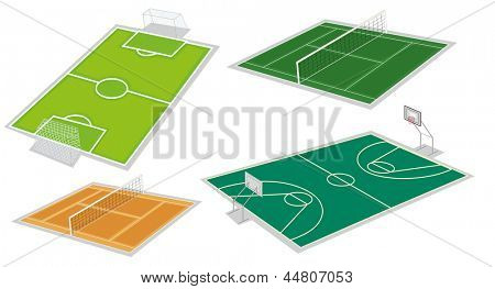 Illustration of the four different kinds of courts on a white background