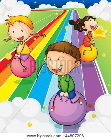 Illustration of the three kids playing with the bouncing balls at the colorful road
