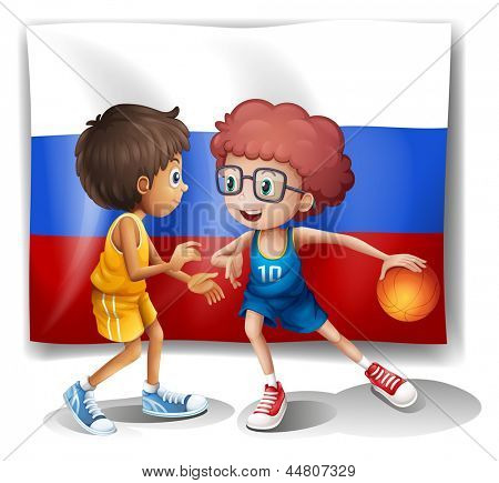 Illustration of the flag of the Russian Federation with two basketball players on a white background