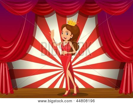 Illustration of a girl wearing a crown at the stage