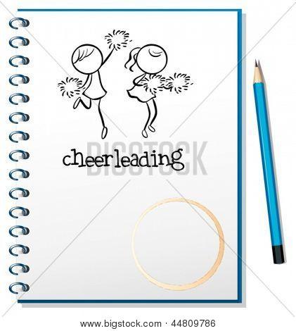 Abbildung eines Notebooks mit einem Cheerleader Design auf weißem Hintergrund