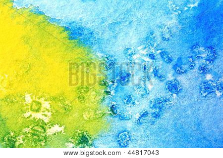 Blue Green and Yellow Watercolor Macro 4