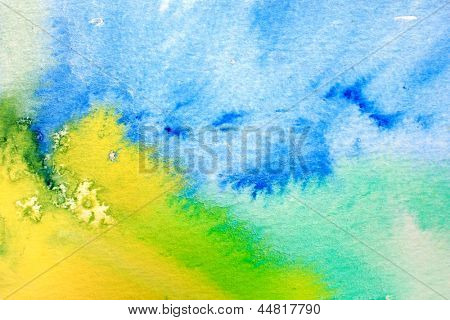 Blue Green and Yellow Watercolor Macro 1
