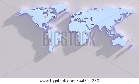 Blue world map from above with long shadows