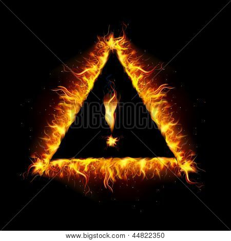 illustration of danger sign made of fire flame