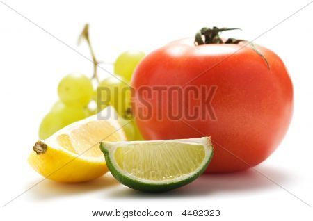 Lemon, Grape, Lime, Tomato