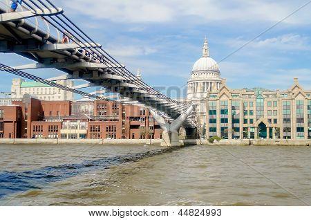 The Millennium Bridge against St Paul Cathedral London UK poster